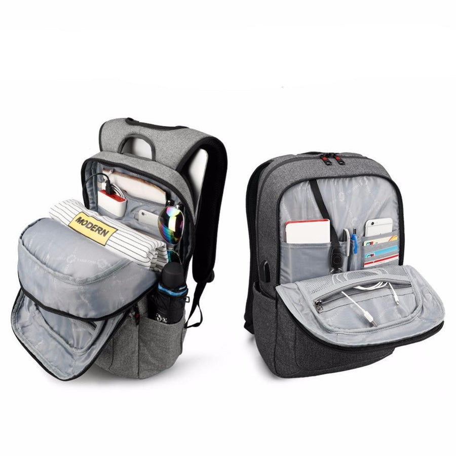 Denim Anti Theft USB Backpack