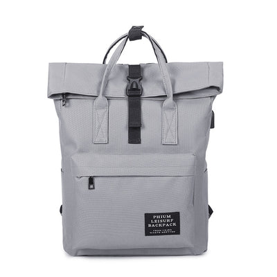Preppy Fold-Top Canvas Backpack