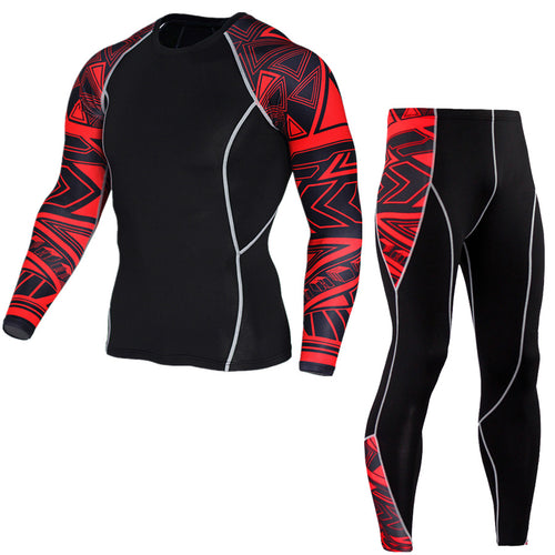 Red Tribal Compression Two Piece Set