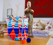 Colorfull wayuu bag,can be used as a shopping bag or beach bag, two pompoms orange and blue