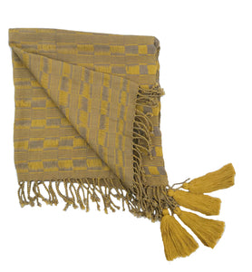 Scarves Handwoven Scarf- Yellow and taupe