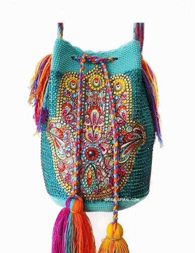Hamsa Hand Wayuu Bag Embellished With Crystal