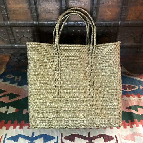 Oaxaca bag handmade in Mexico, tote bag, gold