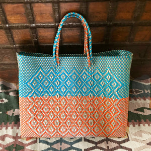 Plastic tote-bag, handmade Oaxaca bag, beach bag