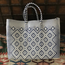 Oaxaca bag handmade in Mexico, tote bag, blue and white