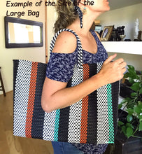 Model shows stripes mexican tote bag, woven plastic tote,handmade