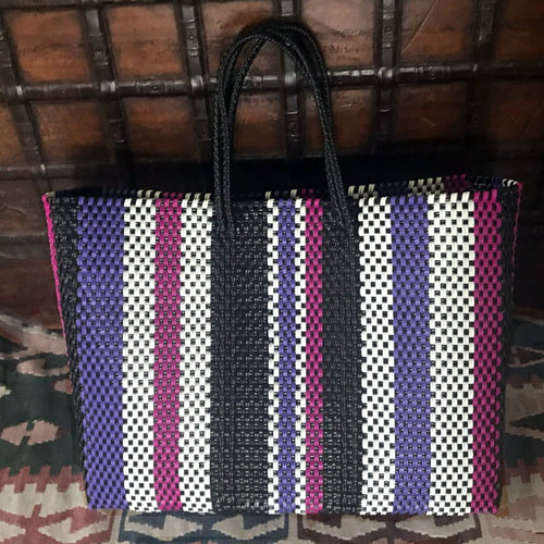 Stripes Oaxaca Tote bag handmade in Mexico, woven of recycled plastic