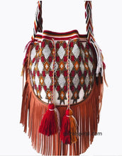 Wayuu Bag Embellished With Crystal and Leather fringes
