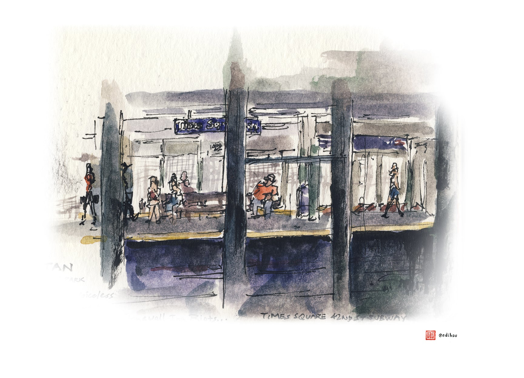 Subway Station - 42nd Street Times Square - Manhattan NYC - Watercolor by Edi Hsu