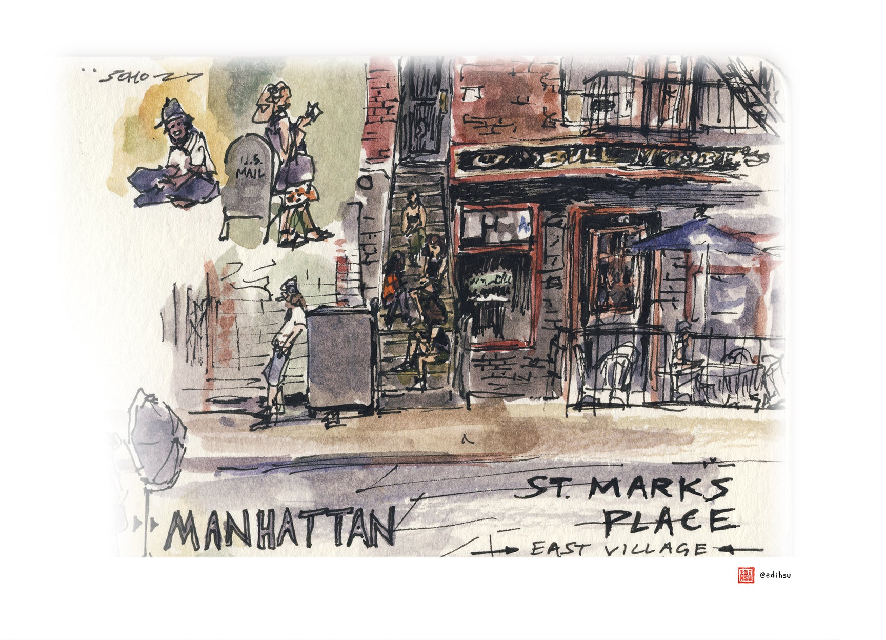 St Mark's Place - Manhattan, NYC - Watercolor by Edi Hsu