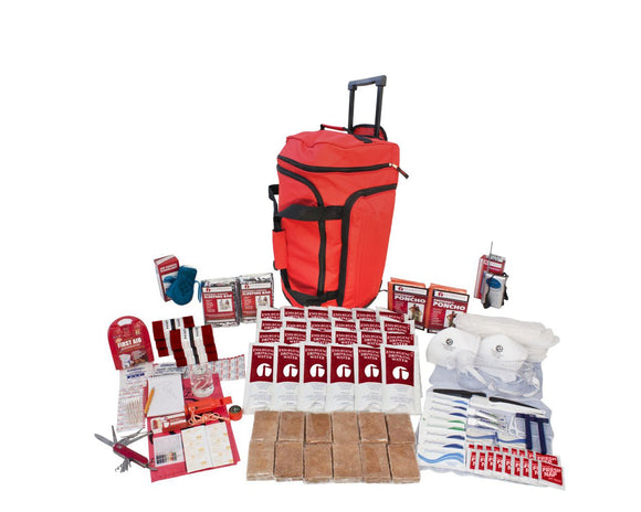 2  Person Deluxe Survival Kit (72+ Hours) - RED Wheel Bag