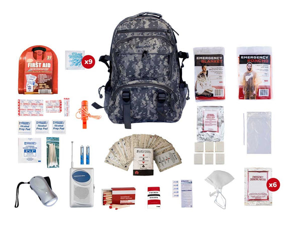 1 Person Survival Kit  72+ Hrs. Camo Backpack