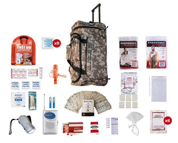 1 Person Survival Kit 72+ Hrs CAMO Wheel Bag