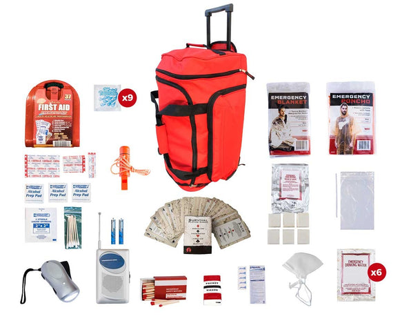 1 Person Survival Kit 72+ Hrs. Red Wheel Bag