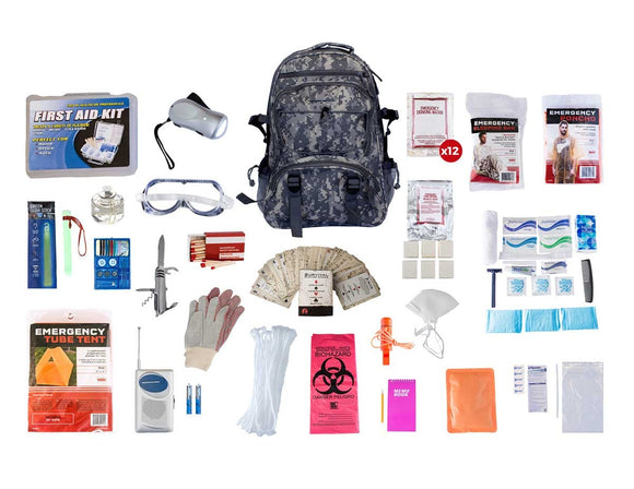 1 Person Elite Survival Kit 72+ Hrs Camo Backpack