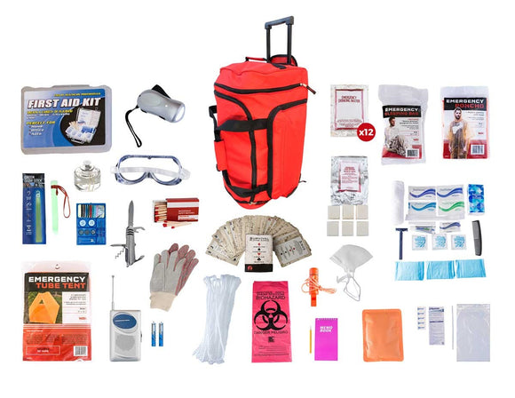 1 Person Elite Survival Kit 72+ Hrs Red Wheel Bag