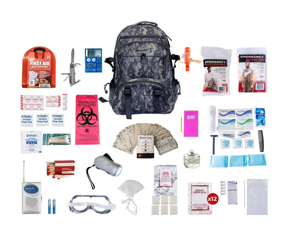1 person Deluxe Survival Kit 72+ hrs. Camo backpack