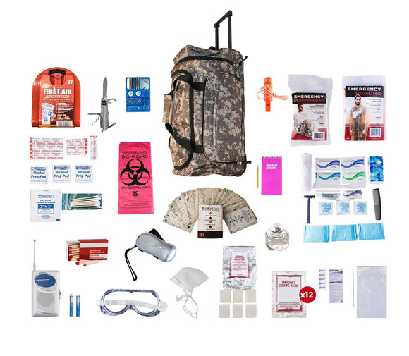 1 Person Deluxe Survival Kit CAMO Wheel Bag
