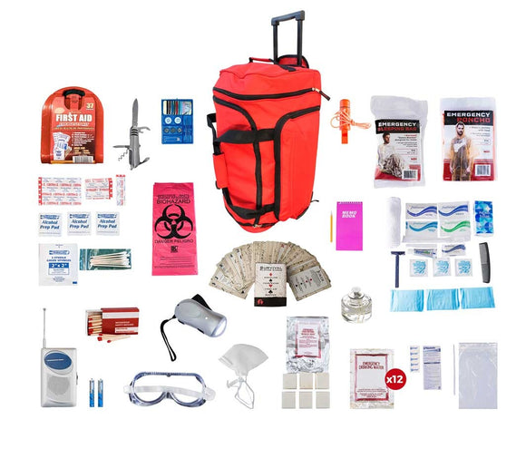 1 person Deluxe Survival Kit 72+ hrs. Red Wheel Bag