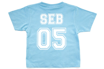 Infant & Kid's Personalised College T-Shirt - Baby Blue