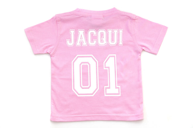Infant & Kid's Personalised College T-Shirt - Baby Pink