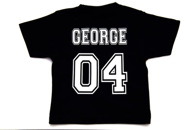 Infant & Kid's Personalised College T-Shirt - Black