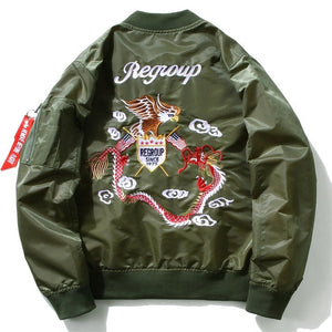 Eagle and Dragon Embroidery Bomber Jacket
