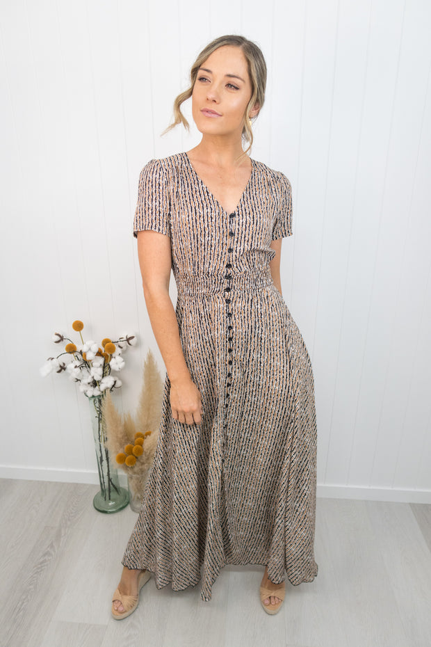 Arlo Dress -Tan stripe