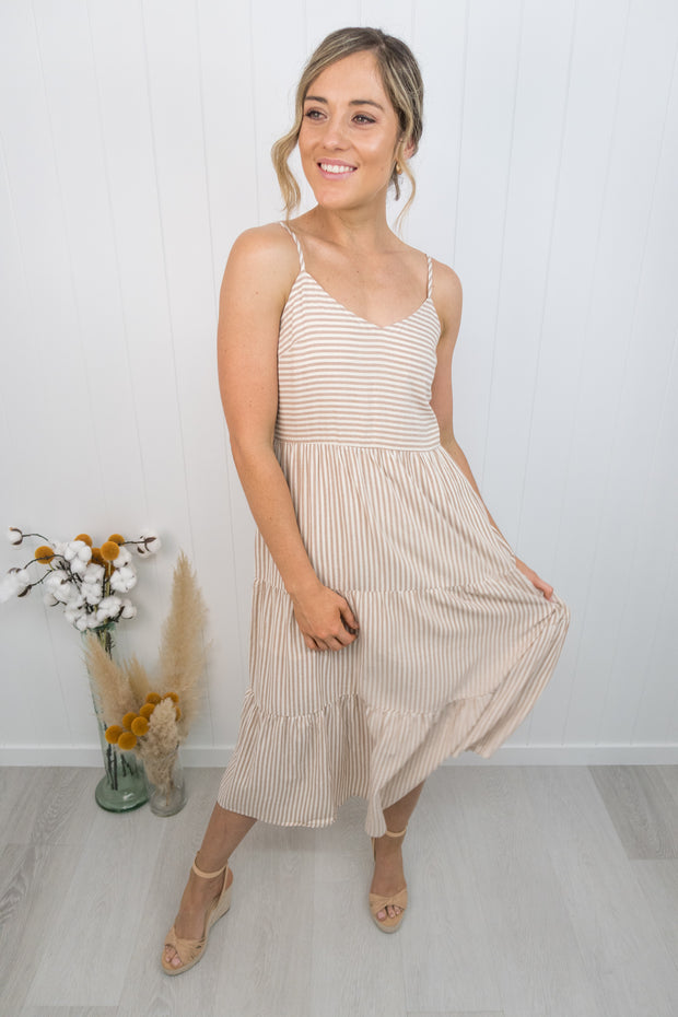 Olivia Dress -Stripe/beige