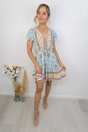 River Dress Mini -Blue/orange