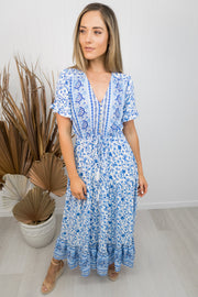 Millie Dress -Blue/white