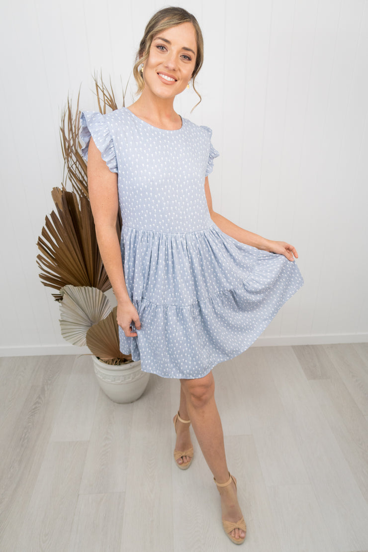 Taylor Dress -Denim blue/floral
