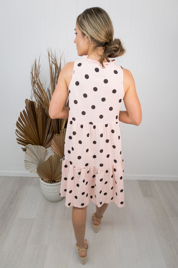 Olive Dress -Blush/black polka dot
