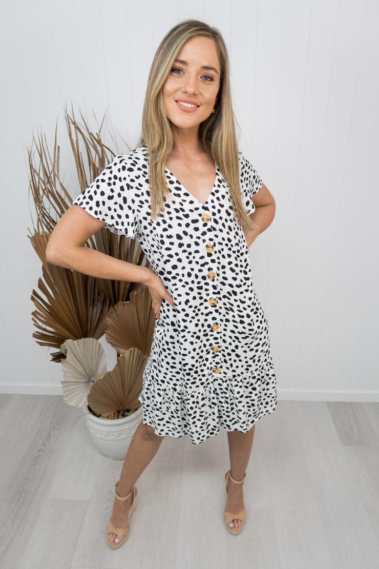 Teddy Dress -White/black