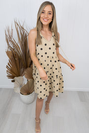 Olive Dress -Biege/black polka dot