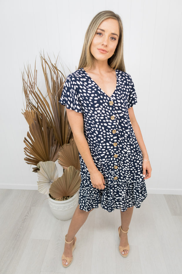 Teddy Dress -Navy/white