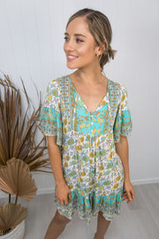 Esme Dress - Teal/yellow