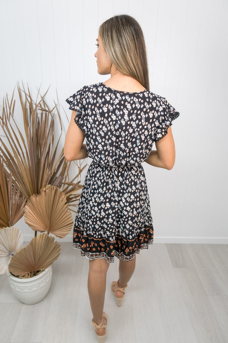 Kingsley Dress -Black floral