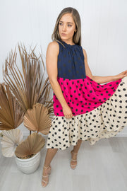 Ryder Dress -Navy/Pink/Biege