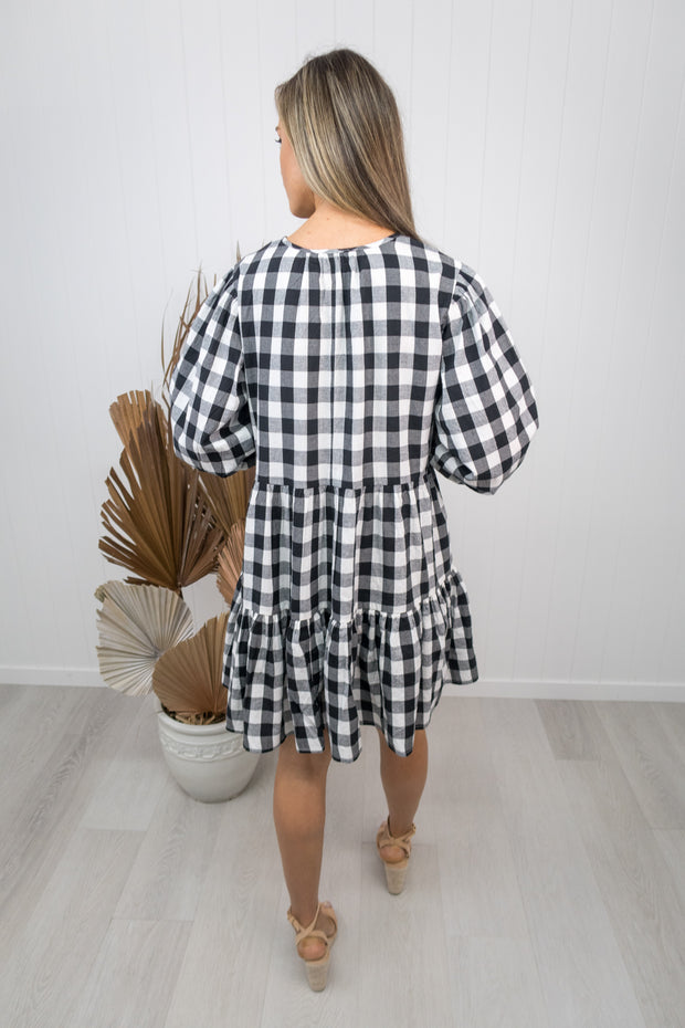 Clara Dress -Gingham black/white