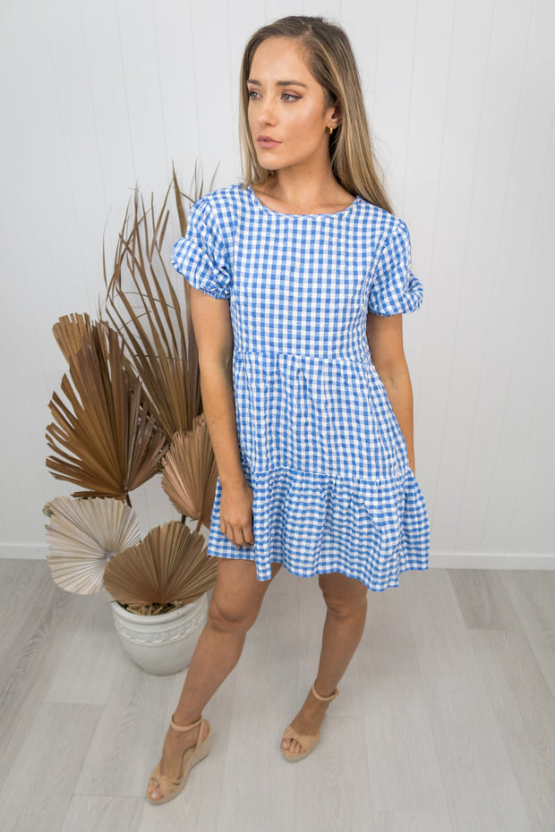 Charlie Dress -gingham/blue