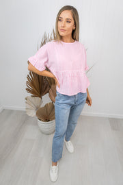 Fallon Top -Pink/white