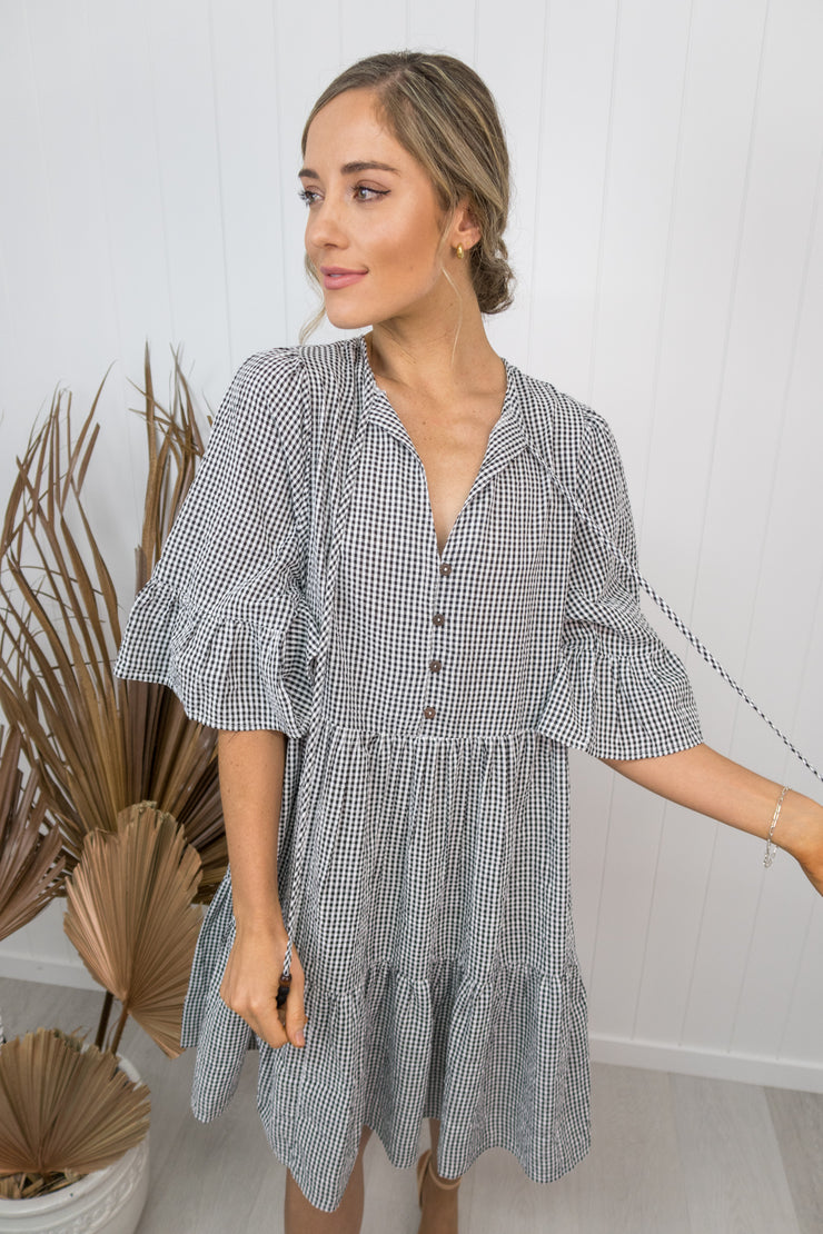 Ella Dress- Black/white gingham