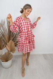 Kenzie Dress -Gingham red/white