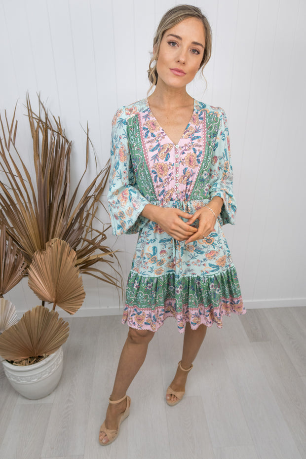 Everly Dress -Teal/pink