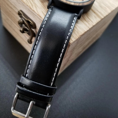 6578b850a6997 Wooden Watch Zebra Wood for Men Unique Handmade Leather Band Matte Black  Stainless Steel - Chronograph Quartz Wood Grain Watch by Seventh Wooden  Watches - ...