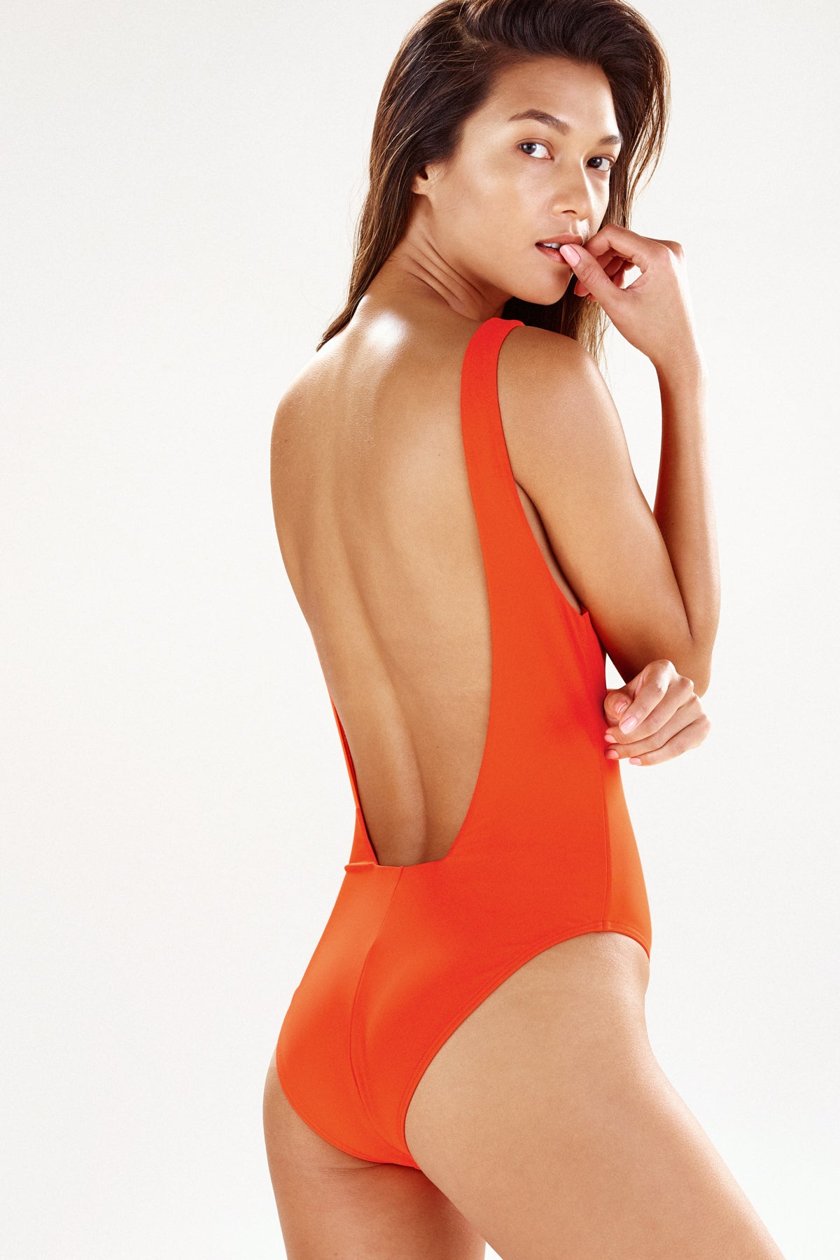 Back view of Lisbon one piece swimsuit in orange