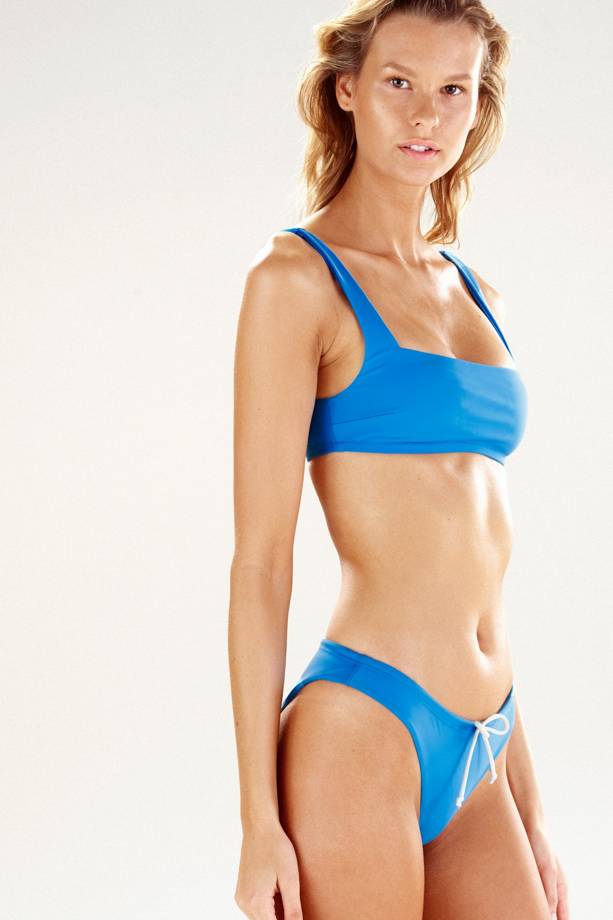 Side view of the Zuma bikini bottom in flag blue