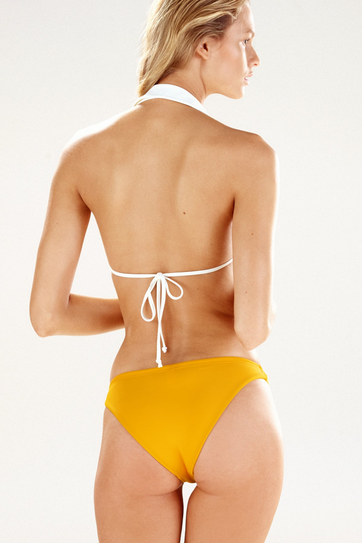 Back view of the Hampton collared bikini top