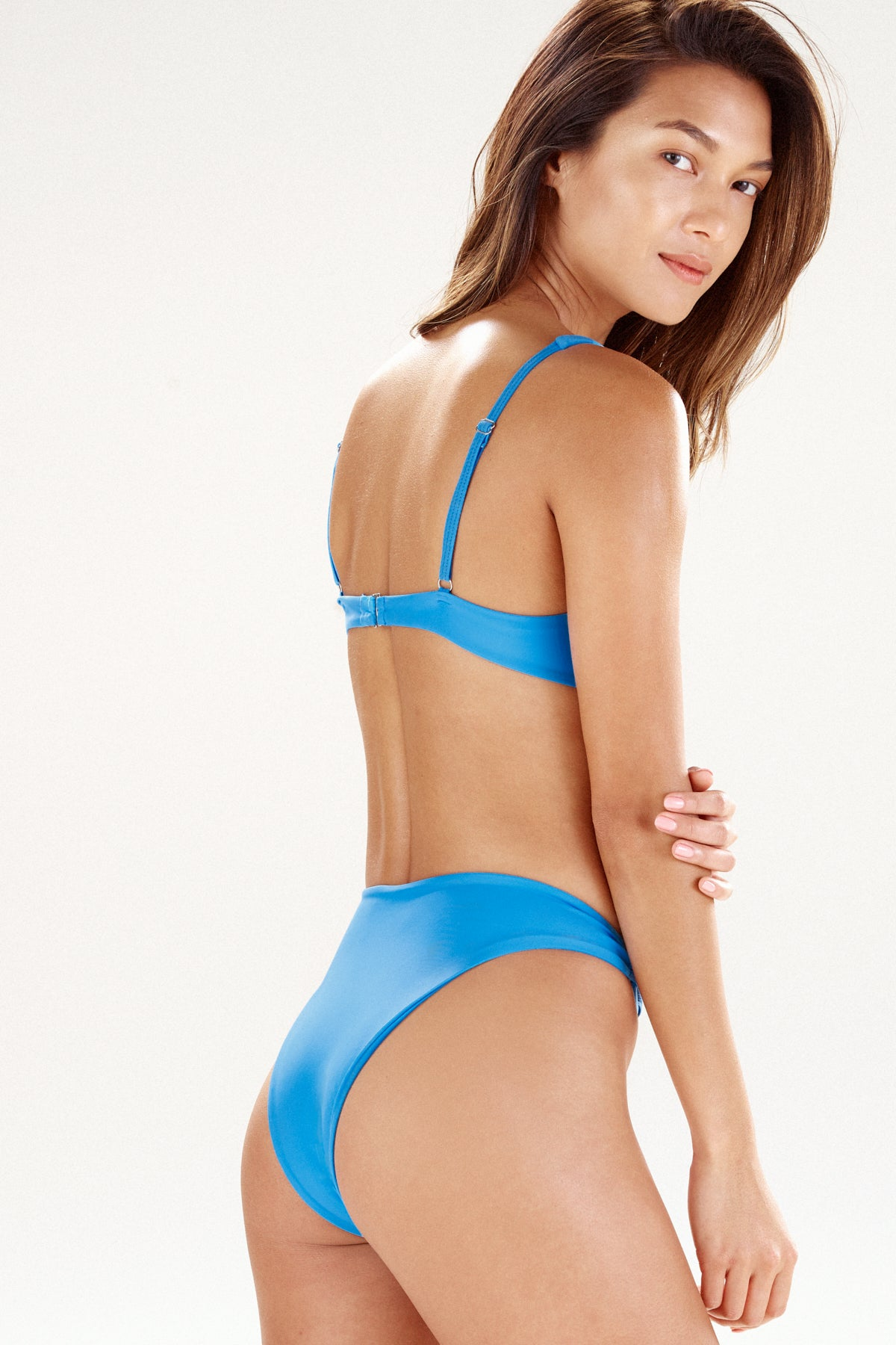 Side view of girl in flag blue bikini bottom Monaco by Ookioh